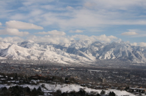 Salt Lake city in snow